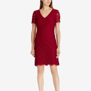 Lauren Ralph Lauren Scalloped Lace Dress Garnet 6